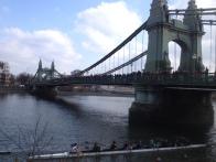Hoards of supporters on Hammersmith Bridge