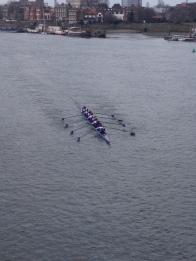 3rd 8 racing towards Hammersmith Bridge